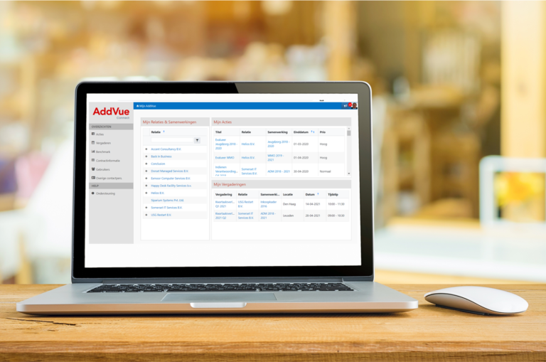 screenshot contractmanagement software AddVueConnect